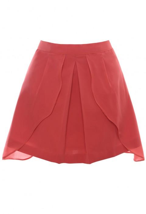 กระโปรงสีโอรส ตัดต่อและซ้อนผ้า