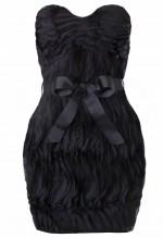 ชุดแซกเกาะอกตัดต่อเข็มขัดโบว์ผ้าสีดำ