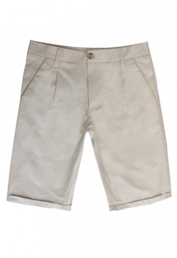กางเกงขาสั้นสีเทาอ่อน กระเป๋าเฉียง
