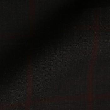 VERY DARK (MOSTLY BLACK) BROWN WINDOWPANE PLAID WOOL BLEND