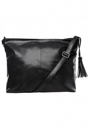 กระเป๋าสะพายหนังสีดำ