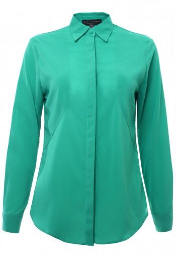เสื้อเช้ิตสีเขียวผ้าตัดต่อ