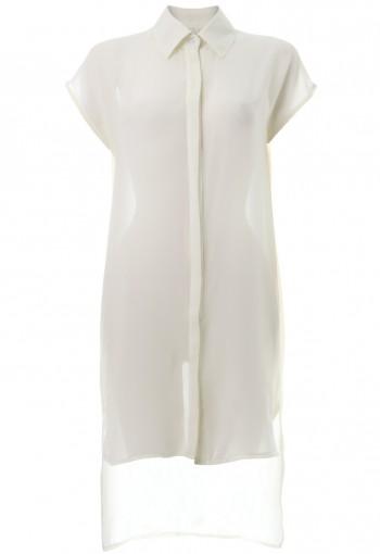 ชุดแซกชีฟองตัวยาวปกเชิ้ตสีขาว