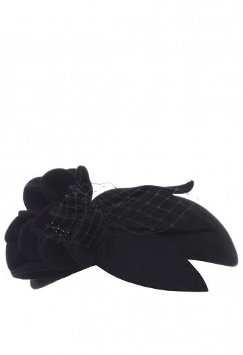 หมวกดอกไม้สีดำสไตล์ย้อนยุค