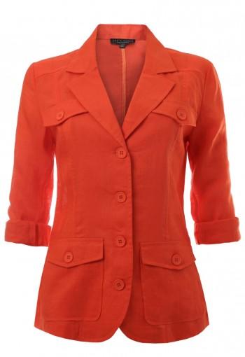 เสื้อแจ็คเก็ตสีส้มกระเป๋า 4 ใบ