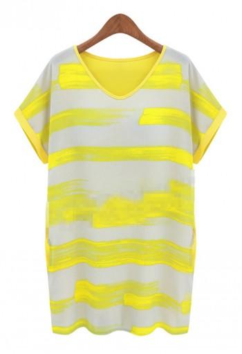 เสื้อยืดตัวยาว พิมพ์ลายสีเหลือง