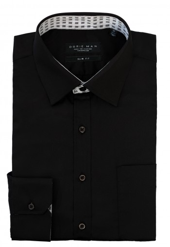BLACK SHIRT CHECKED COLLAR