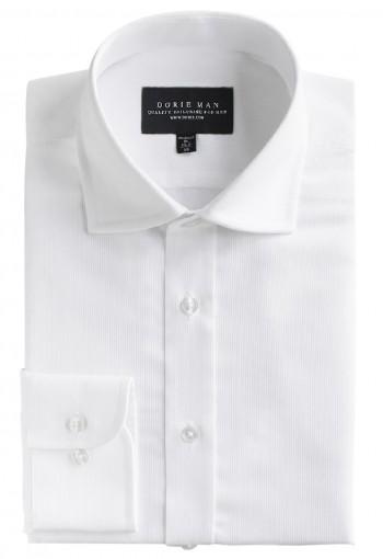 White Curve Spread Collar Shirt