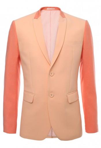 เสื้อสูทตัดต่อผ้าสลับสีส้ม ปกแหลมเล็ก