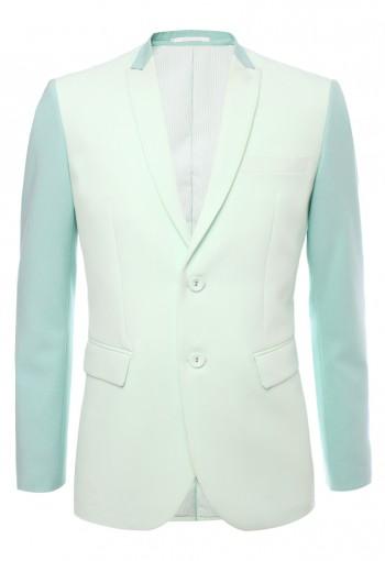 เสื้อสูทตัดต่อผ้าสลับสีเขียว ปกแหลมเล็ก