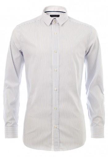เสื้อเชิ้้ตปกเล็กลายทางสีน้ำเงิน