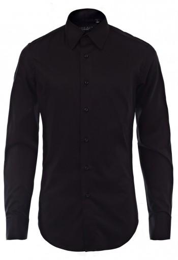 เสื้อเชิ้ตผ้ายืดสีดำ