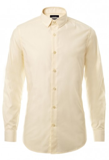 เสื้อเชิ้ตปกเล็กสีเหลืองอ่อน
