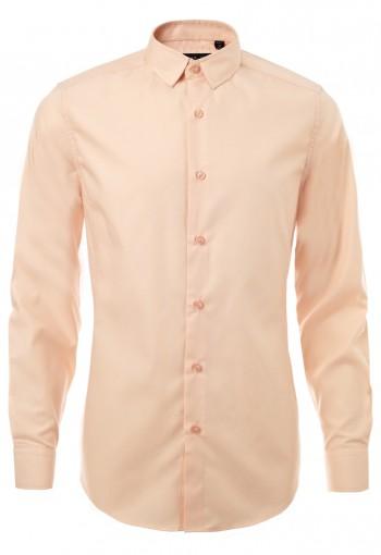 เสื้อเชิ้ตปกเล็กสีส้มพาสเทล