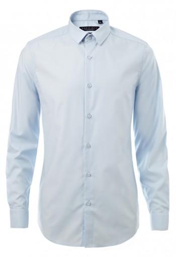 เสื้อเชิ้ตปกเล็กสีฟ้า