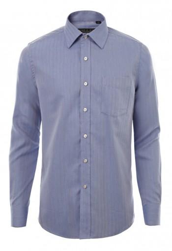 เสื้อเชิ้ตลายก้างปลาสีน้ำเงิน