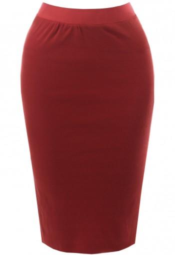 กระโปรงผ้ายืดทรงสอบเข้ารูปสีแดง