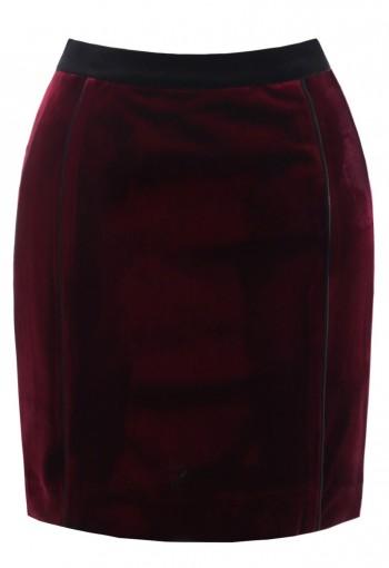 กระโปรงกำมะหยี่ยืดสีแดง
