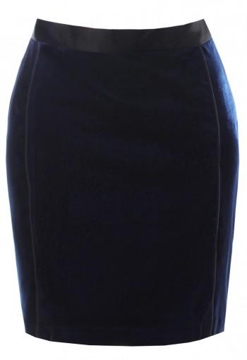 กระโปรงกำมะหยี่ยืดสีน้ำเงิน