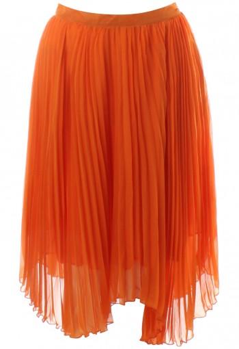 กระโปรงพลีทยาวสีส้ม