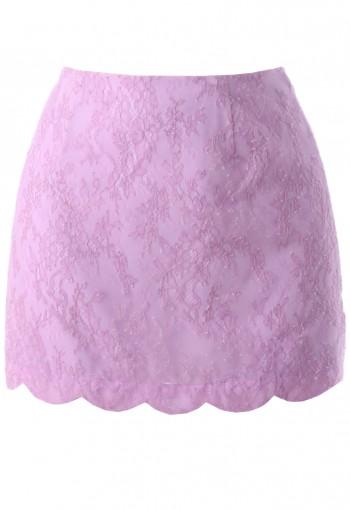 กระโปรงซ้อนผ้าลูกไม้สีม่วง