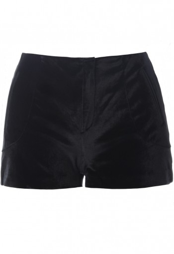 กางเกงขาสั้นกำมะหยี่สีดำ