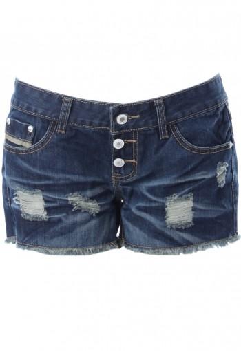 กางเกงยีนส์เอวต่ำกระดุมสามเม็ด