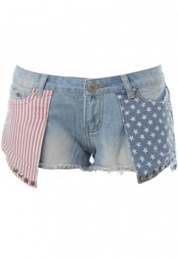 กางเกงยีนส์ขาสั้นโช์วกระเป๋าลาย USA