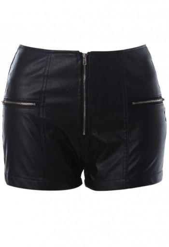 กางเกงหนังสีดำซิบหน้า