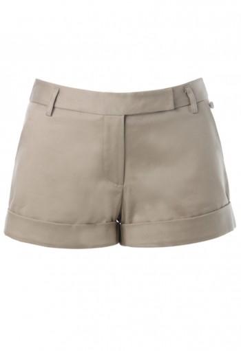 กางเกงขาสั้นผ้ายืดสีกากี