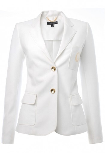 เสื้อสูทสีขาวผ้าสเปนเด็กซ์