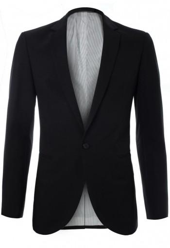 เสื้อสูทสีดำ กระดุมหนึ่งเม็ด ซับในลายทาง