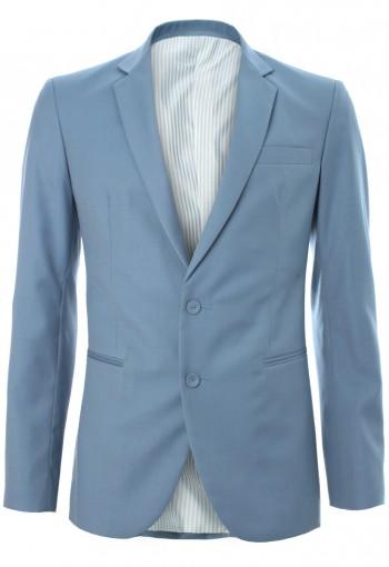 เสื้อสูทผ้าวูลสีน้ำเงินพาสเทล