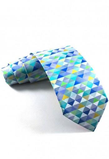 เนคไททอลายรูปทรงสามเหลี่ยมสลับสี