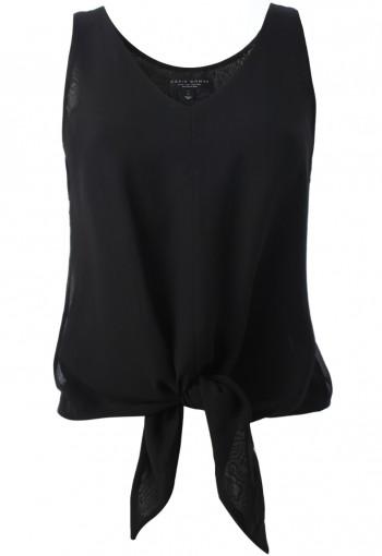 เสื้อชีฟองผูกปลายสีดำ
