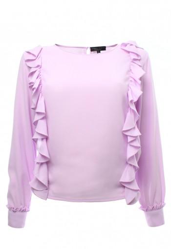 เสื้อชีฟองระบายข้างสีม่วง