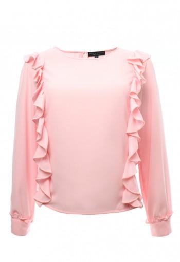 เสื้อชีฟองระบายข้างสีชมพู