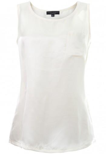 เสื้อแขนกุดสีขาว