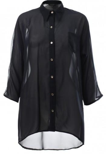 เสื้อเชิ้ตสีีดำแขนสามส่วน