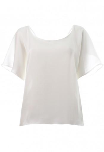 เสื้อแขนกระดิ่งผ้าไหมซาตินสีขาว