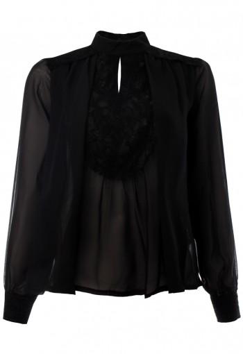 เสื้อชีฟองสีดำตัดต่อลูกไม้