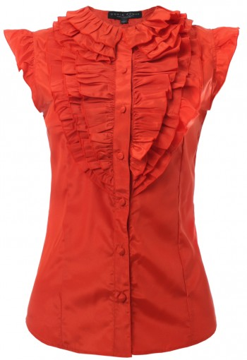 เสื้อสีส้มจับระบายคอ