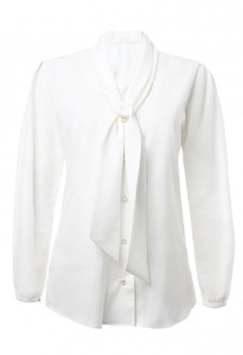เสื้อสีขาวออฟไวท์พร้อมผ้าพันคอ