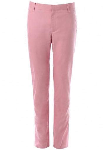 กางเกงสีชมพูอ่อนขากระบอกเล็ก