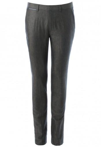 กางเกงทรงสกินนี่ สีเทาตัดขอบสีน้ำเงิน