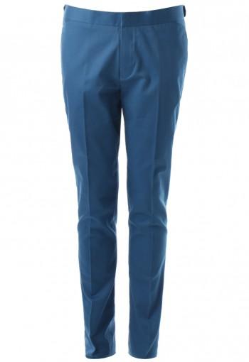 กางเกงสีน้ำเงินทรงกระบอกเล็ก ขอบอินทนู