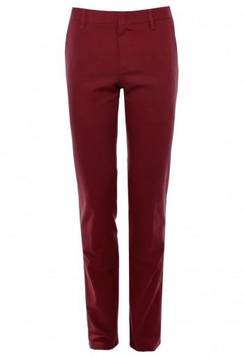 กางเกงขายาว ผ้าคอตตอนสแปนเด็กซ์ สีเลือกหมู