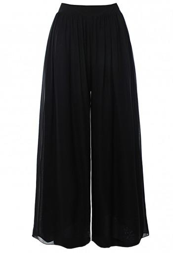 กางเกงพาลาสโซ่ ชีฟองสีดำ