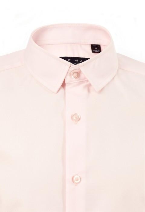 เสื้อเชิ้ตปกเล็กสีชมพูพาสเทล