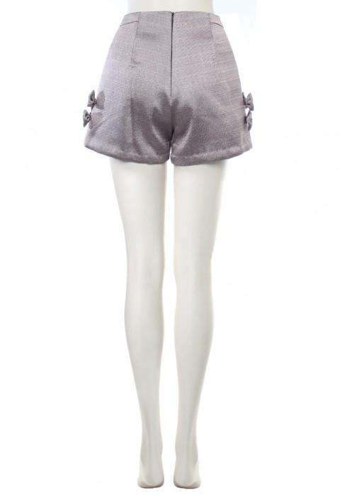 กางเกงขาสั้นเอวสูงผ้าเมทัลลิคสีชมพู